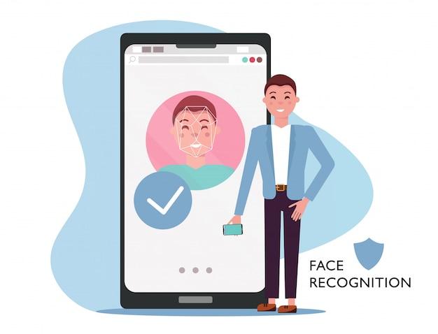 Koncepcja identyfikacji twarzy. mężczyzna z telefonem komórkowym, męska twarz na dużym smartphone ekranie. rozpoznawanie osobowości w aplikacji mobilnej, nowoczesny telefon z systemem bezpieczeństwa. ilustracja kreskówka płaski wektor