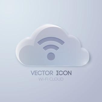 Koncepcja ikona sieci web z chmurą szkła i znak bezprzewodowy