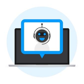 Koncepcja ikony chatbota, czat bot lub czatbot. wirtualna pomoc robota dla strony internetowej lub aplikacji mobilnych