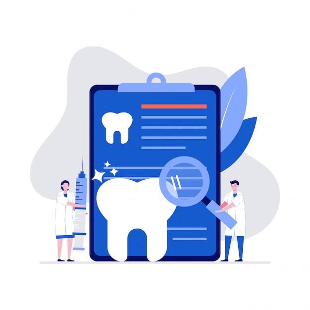 Koncepcja ilustracja badanie stomatologii z lekarzem dentystą, pielęgniarką i dużym ząbkiem.