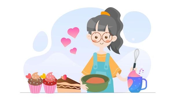 Koncepcja ilustracja cute girl pieczenia piekarni