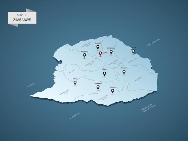 Koncepcja ilustracja izometryczny 3d zimbabwe mapę