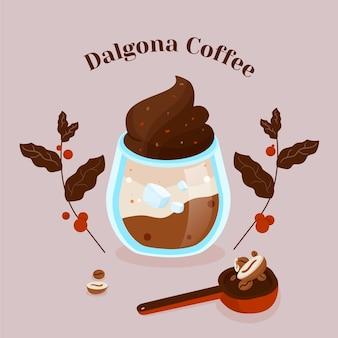 Koncepcja ilustracja kawa dalgona