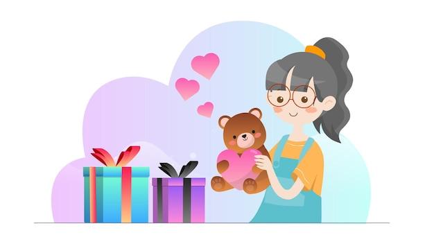 Koncepcja ilustracja kid dostaje prezenty szablon valentine