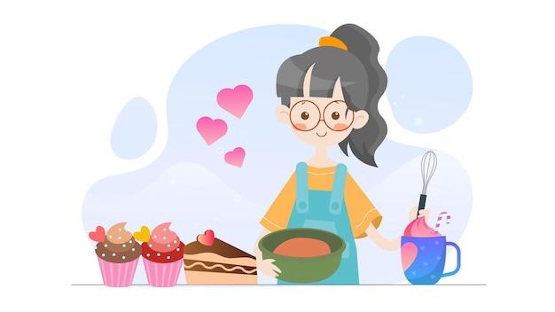 Koncepcja ilustracja kid pieczenia szablon valentine