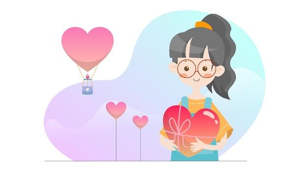 Koncepcja ilustracja kid trzyma miłość szablon valentine