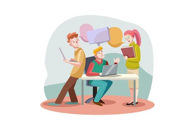 Koncepcja ilustracja komunikacji biznesowej