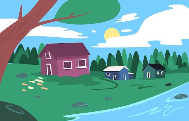Koncepcja ilustracja krajobraz wsi