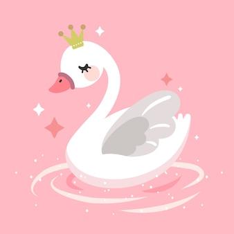 Koncepcja ilustracja księżniczka łabędź