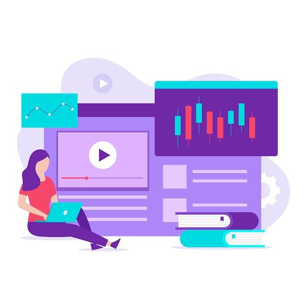 Koncepcja ilustracja kurs handlu giełdowego. ilustracja do stron internetowych, stron docelowych, aplikacji mobilnych, plakatów i banerów