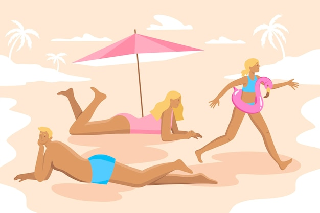 Koncepcja ilustracja ludzie plaży