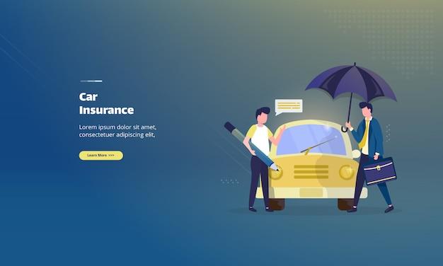 Koncepcja ilustracja polisy ubezpieczenia samochodu