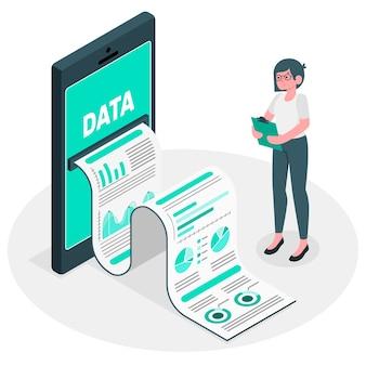 Koncepcja ilustracja raport danych