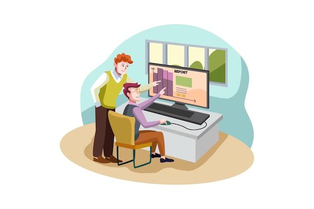Koncepcja ilustracja raporty biznesowe
