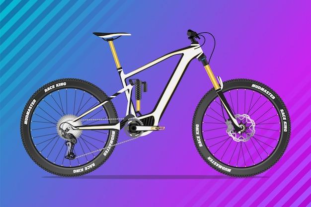 Koncepcja ilustracja rower górski mtb z pełnym zawieszeniem