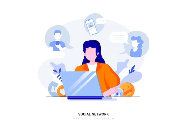 Koncepcja ilustracja sieci społecznej
