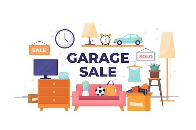 Koncepcja ilustracja sprzedaż garażu