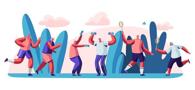 Koncepcja ilustracja treningu na świeżym powietrzu osób starszych