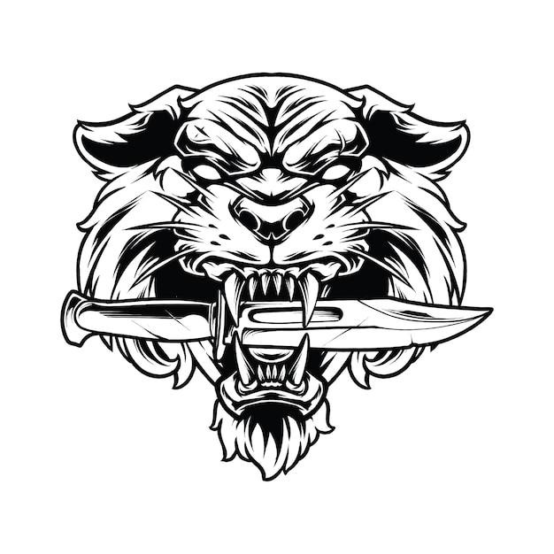 Koncepcja ilustracja tygrys miecz