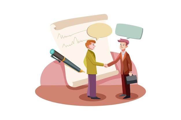 Koncepcja ilustracja umowy biznesowej