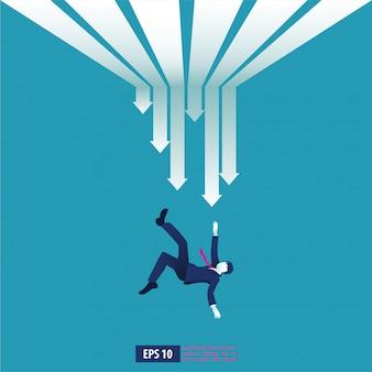 Koncepcja ilustracja upadłości. biznesmen z złamaną firmą. globalny kryzys finansowy ze strzałką symbol zmniejszenia. spadek gospodarki, zagubiony i bankrut