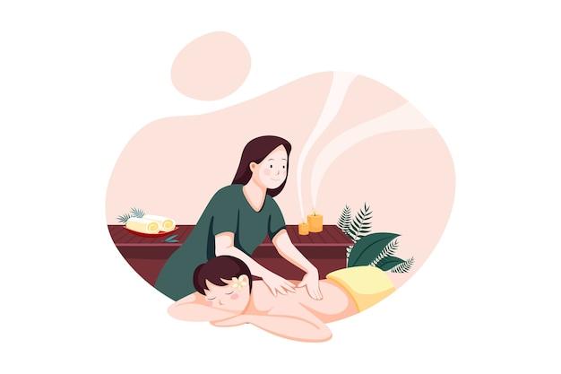 Koncepcja ilustracja usługi masażu