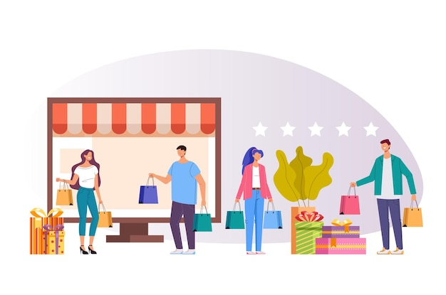 Koncepcja ilustracja zakupy w internecie