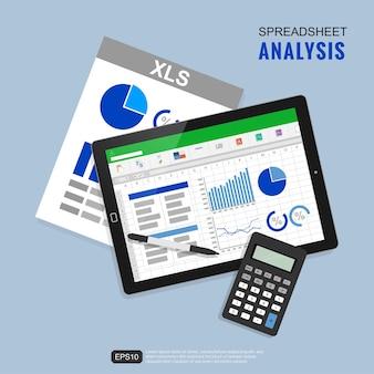Koncepcja ilustracji analizy arkusza kalkulacyjnego.