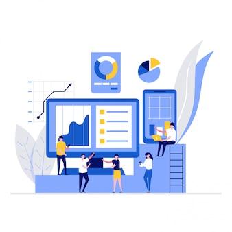 Koncepcja ilustracji analizy danych ze znakami. osoby wykorzystujące technologie do planowania strategii.