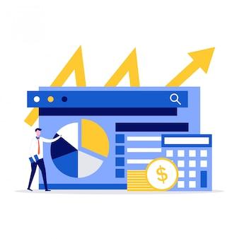 Koncepcja ilustracji audytu finansowego ze znakami. biznesmen stoi w pobliżu wykresu, monet i kalkulatora.