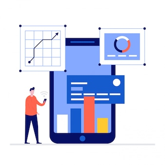 Koncepcja ilustracji bankowości online ze znakami, smartfonem, kartą kredytową.
