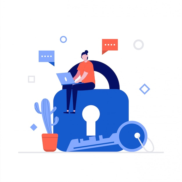 Koncepcja ilustracji bezpieczeństwa cybernetycznego z postaciami. bezpieczeństwo danych, chroniona kontrola dostępu, ochrona prywatności.