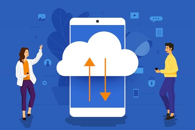 Koncepcja ilustracji biznesmen pracuje nad aplikacją mobilną razem budując technologię chmury. zilustrować.