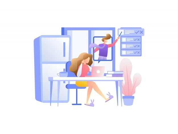 Koncepcja ilustracji działa z domu