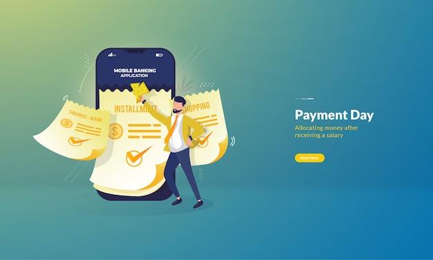Koncepcja ilustracji dzień płatności, człowiek płaci raty za pomocą bankowości mobilnej