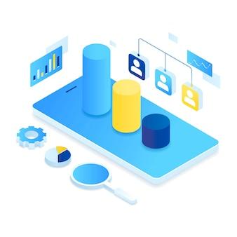Koncepcja ilustracji izometrycznej zarządzania relacjami z klientami.