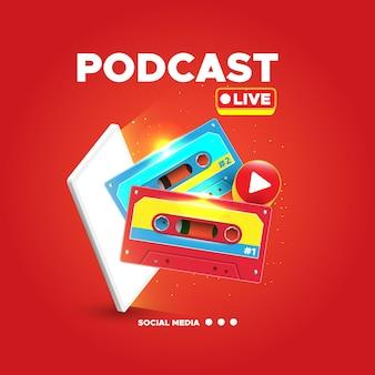 Koncepcja ilustracji koncepcji podcastu z realistyczną kasetą