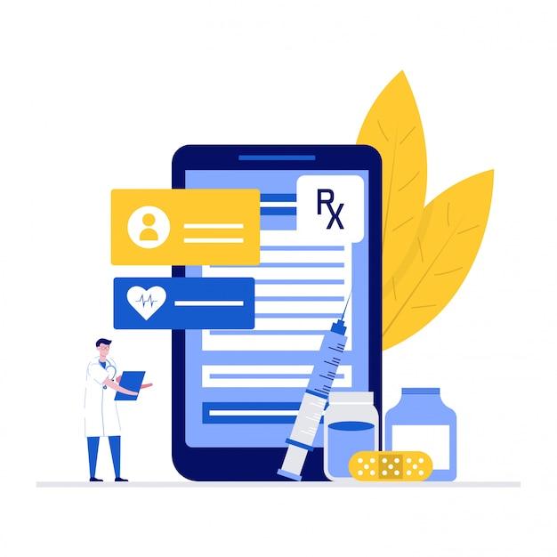 Koncepcja ilustracji lekarza farmaceuty z postaciami. nowoczesne mieszkanie na stronę docelową, aplikację mobilną, plakat, ulotkę, szablon, baner internetowy, infografiki, obrazy bohaterów.