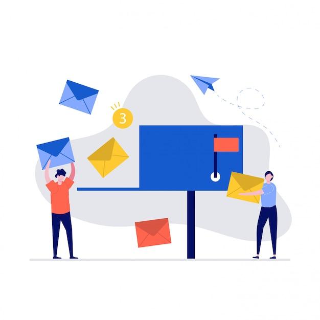 Koncepcja ilustracji marketingu e-mail ze znakami. ludzie stojący przy skrzynce pocztowej i wysyłający maile.