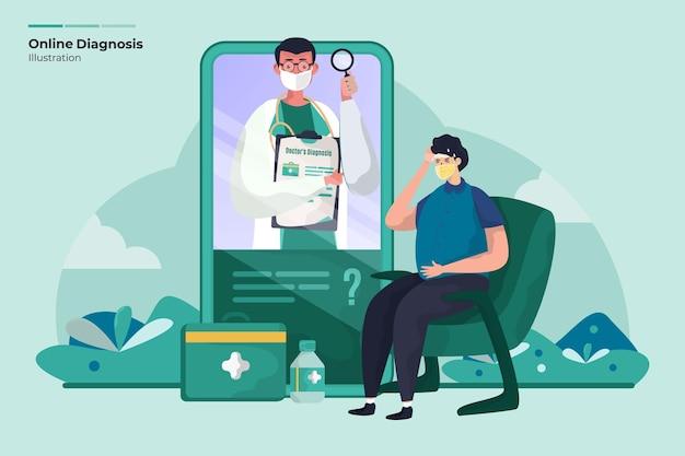 Koncepcja ilustracji opieki medycznej diagnozy lekarza online