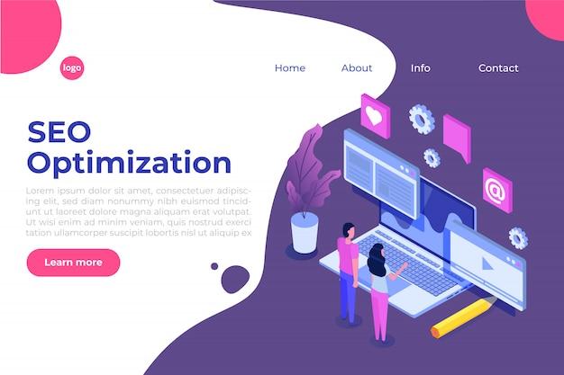 Koncepcja ilustracji optymalizacji seo sieci web izometryczny. szablon strony docelowej. naklejka na baner internetowy, stronę internetową, baner, prezentację, media społecznościowe, dokumenty, karty, plakaty.