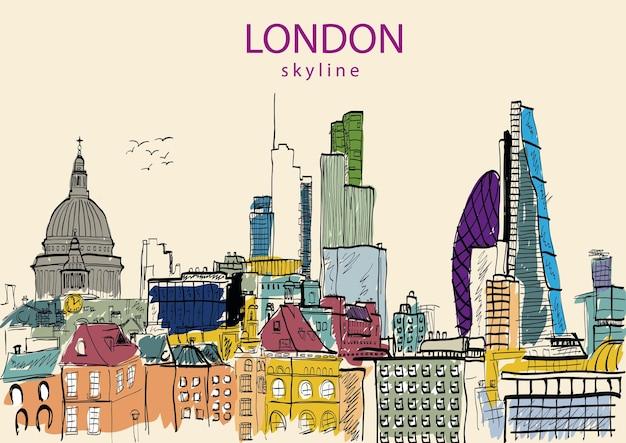 Koncepcja ilustracji panoramę londynu