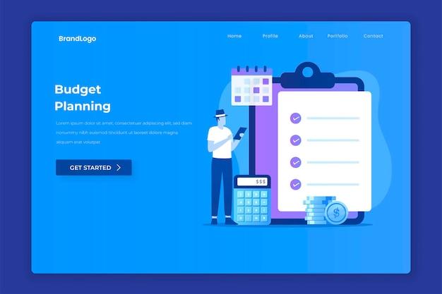 Koncepcja ilustracji planowania budżetu dla stron docelowych witryn internetowych