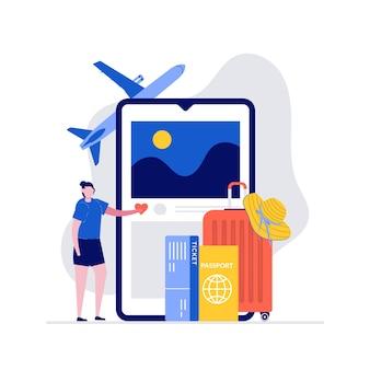 Koncepcja ilustracji podróży i wakacji z zapakowanym bagażem i dużym smartfonem.