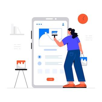 Koncepcja ilustracji projektanta strony internetowej