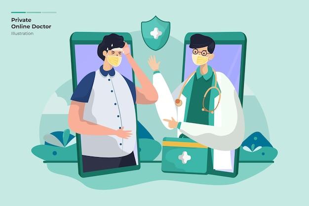 Koncepcja ilustracji prywatnej konsultacji lekarza online