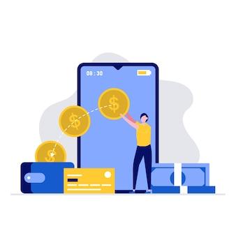 Koncepcja ilustracji przelewu i płatności z postaciami ludzi wysyłającymi i odbierającymi pieniądze przez smartfona.