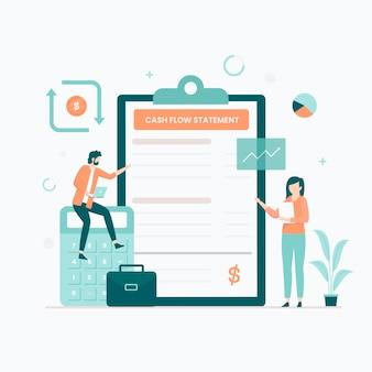 Koncepcja ilustracji rachunku przepływów pieniężnych. ilustracja do stron internetowych, stron docelowych, aplikacji mobilnych, plakatów i banerów.