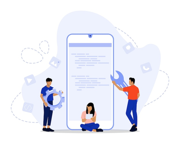 Koncepcja ilustracji rozwoju aplikacji
