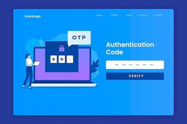Koncepcja ilustracji strony docelowej kodu otp dla stron docelowych witryn internetowych